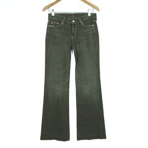 7 For All Mankind Green Flare Denim Dojo Jeans